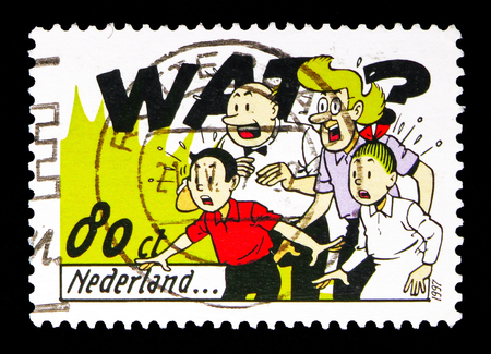 MOSCOW, RUSSIA - MAY 13, 2018: A stamp printed in Netherlands shows Suske and Wiske, Lambic and Aunt Sidonia, Comics serie, circa 1997