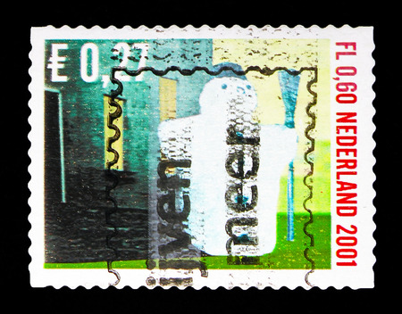 MOSCOW, RUSSIA - MAY 13, 2018: A stamp printed in Netherlands shows Snowman, December stamps  serie, circa 2001 Editorial
