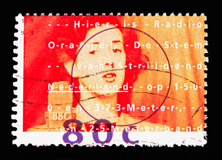 MOSCOW, RUSSIA - MAY 13, 2018: A stamp printed in Netherlands shows Jettie Bantzinger-Pearl, singer, Radio Oranje serie, circa 1993 Editoriali