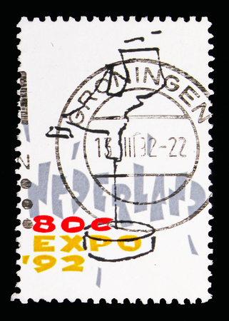 MOSCOW, RUSSIA - MAY 13, 2018: A stamp printed in Netherlands shows Stylized map of the Netherlands, EXPO - Sevilla serie, circa 1992
