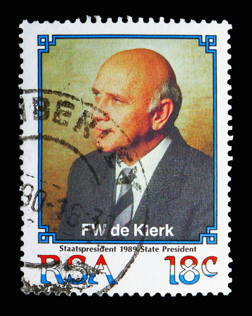 MOSCOW, RUSSIA - MAY 13, 2018: A stamp printed in South Africa shows President de Klerk, serie, circa 1989 Editorial