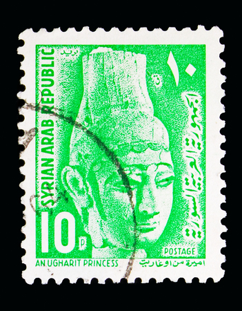 MOSCOW, RUSSIA - MAY 13, 2018: A stamp printed in Syria shows Ugharit Princess, Definitive serie, circa 1964