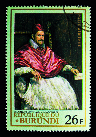 MOSCOW, RUSSIA - MAY 13, 2018: A stamp printed in Burundi shows Pope Innocent X by Velazquez, Famous paintings serie, circa 1968 Editorial