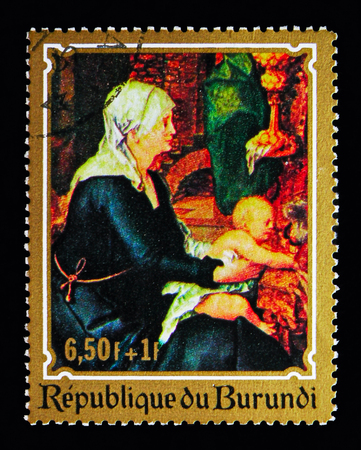 MOSCOW, RUSSIA - MAY 13, 2018: A stamp printed in Burundi shows Virgin and Child by Albrecht Durer (1471–1528), Christmas serie, circa 1970