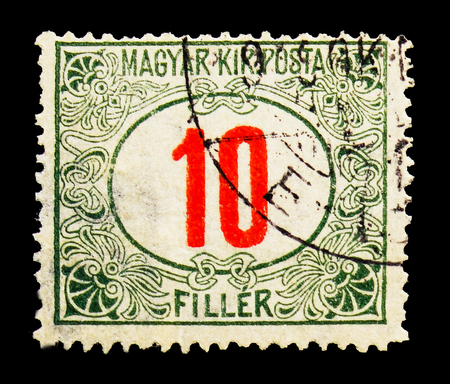 MOSCOW, RUSSIA - MAY 13, 2018: A stamp printed in Hungary shows Magyar Kir Posta, Postage due serie, circa 1915