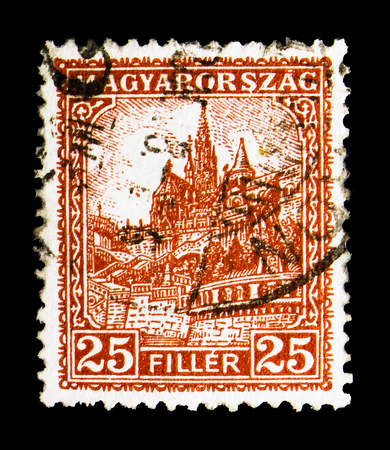 MOSCOW, RUSSIA - MAY 13, 2018: A stamp printed in Hungary shows Matthias Church, serie, circa 1927