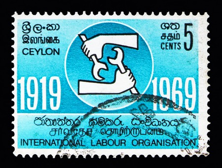 MOSCOW, RUSSIA - MAY 13, 2018: A stamp printed in Ceylon shows International Labour Organization, serie, circa 1969 Editorial