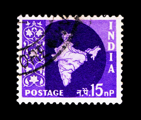 MOSCOW, RUSSIA - MAY 13, 2018: Two postage stamps printed in India shows Map of India, serie, circa 1960