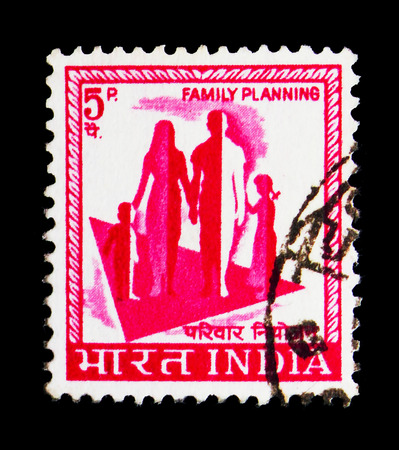 MOSCOW, RUSSIA - MAY 13, 2018: A stamp printed in India shows Symbol of the campaign for sensible family planning, Country Motifs serie, circa 1974
