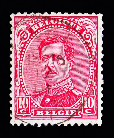 MOSCOW, RUSSIA - MAY 13, 2018: A stamp printed in Belgium shows King Albert I - Type II, serie, circa 1915 Editorial