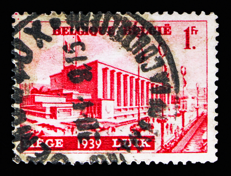 MOSCOW, RUSSIA - MAY 13, 2018: A stamp printed in Belgium shows Water exhibition Liege, serie, circa 1938