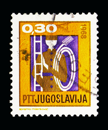MOSCOW, RUSSIA - MAY 13, 2018: A stamp printed in Yugoslavia shows The chimney sweep, New Year 1969 serie, circa 1968