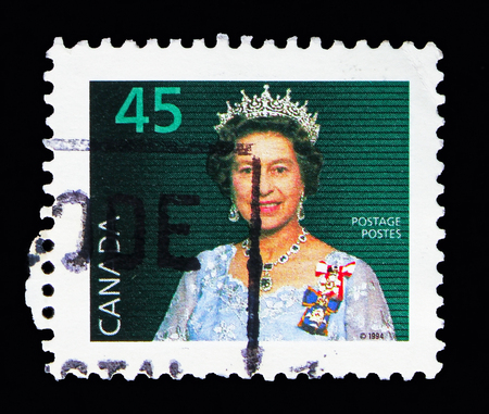 MOSCOW, RUSSIA - MAY 13, 2018: A stamp printed in Canada shows Queen Elizabeth II, Definitives 1985-2000 serie, circa 1995