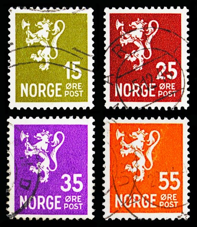MOSCOW, RUSSIA - MAY 13, 2018: Four postage stamps printed in Norway from Lion type II serie, circa 1940-1941 Sajtókép