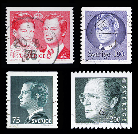 MOSCOW, RUSSIA - MAY 10, 2018: Four postage stamps printed in Sweden from King Carl XVI Gustaf serie, circa 1974-1985