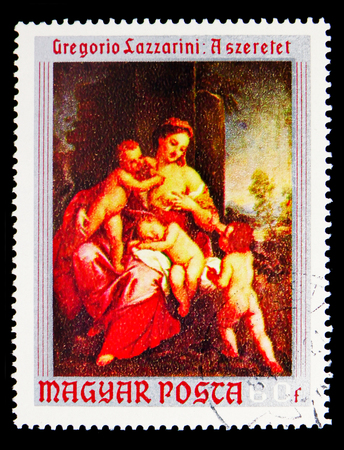MOSCOW, RUSSIA - MAY 16, 2018: A stamp printed in Hungary shows Love by Gregorio Lazzarini, Paintings from Christian Museum, Esztergom serie, circa 1970 Redactioneel