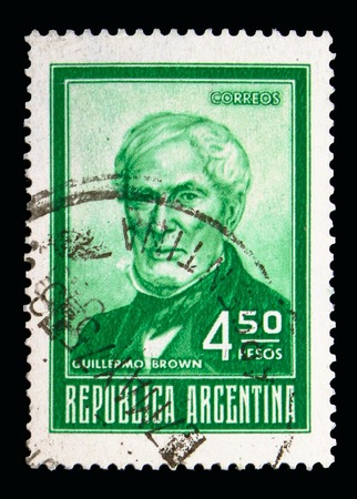 MOSCOW, RUSSIA - MAY 16, 2018: A stamp printed in Argentina shows Guillermo Brown (1777~1857), Personalities and Landscapes serie, circa 1974 Editorial