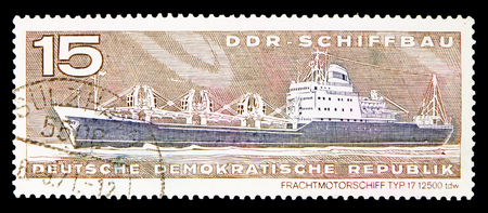 MOSCOW, RUSSIA - MAY 16, 2018: A stamp printed in German Democratic Republic shows Cargo motor ship type 17, Shipbuilding serie, circa 1971 Editorial