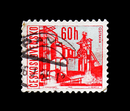MOSCOW, RUSSIA - AUGUST 18, 2018: A stamp printed in Czechoslovakia shows Ostrava, Czechoslovak cities serie, circa 1966