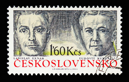MOSCOW, RUSSIA - AUGUST 18, 2018: A stamp printed in Czechoslovakia shows Ladislav Exnar and Ludovit Kukorelli, Guerilla commanders and fighters serie, circa 1974