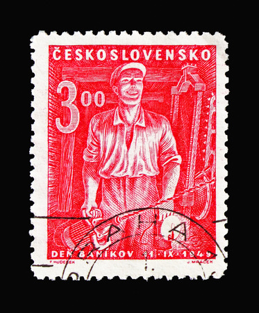 MOSCOW, RUSSIA - AUGUST 18, 2018: A stamp printed in Czechoslovakia shows Miner with a Hand Drill, Day of Miners serie, circa 1949