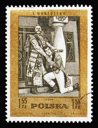 MOSCOW, RUSSIA - AUGUST 18, 2018: A stamp printed in Poland shows Ideal (operetta), Stanislaw Moniuszko(1819-1872), composer serie, circa 1972