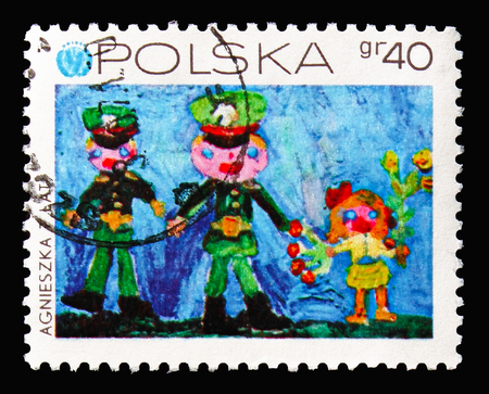MOSCOW, RUSSIA - AUGUST 18, 2018: A stamp printed in Poland shows Our Army, Childrens Drawings - 25th Anniversary of UNICEF serie, circa 1971 Editorial