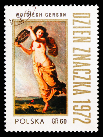 MOSCOW, RUSSIA - AUGUST 18, 2018: A stamp printed in Poland shows Summer Rain, by Wojciech Gerson, Paintings serie, circa 1972 Redactioneel