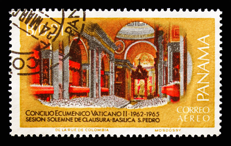 MOSCOW, RUSSIA - AUGUST 18, 2018: A stamp printed in Panama shows Council Vatican Ecumenical, Visit of Pope Paul VI at the Eucharistic Congress serie, circa 1968