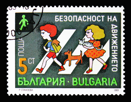 MOSCOW, RUSSIA - SEPTEMBER 15, 2018: A stamp printed in Bulgaria shows Road safety, circa 1989 Editorial
