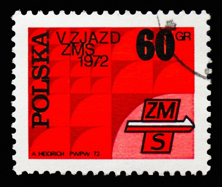 MOSCOW, RUSSIA - SEPTEMBER 15, 2018: A stamp printed in Poland shows 5th Congress of Socialist Youth Union, serie, circa 1972 Editorial