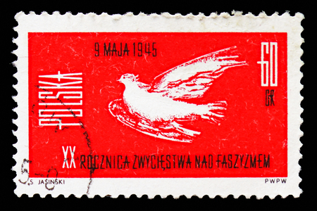 MOSCOW, RUSSIA - SEPTEMBER 15, 2018: A stamp printed in Poland shows Victory over Fascism, 20th anniversary, serie, circa 1965 Editorial