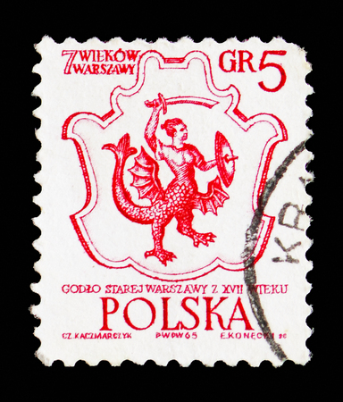 MOSCOW, RUSSIA - SEPTEMBER 15, 2018: A stamp printed in Poland shows Warsaw's Coat of Arms, 17th Century, 700th Anniversary Of Warsaw serie, circa 1965
