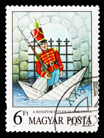 MOSCOW, RUSSIA - SEPTEMBER 15, 2018: A stamp printed in Hungary shows The Steadfast Tin Soldier by Andersen, Fairy Tales serie, circa 1987