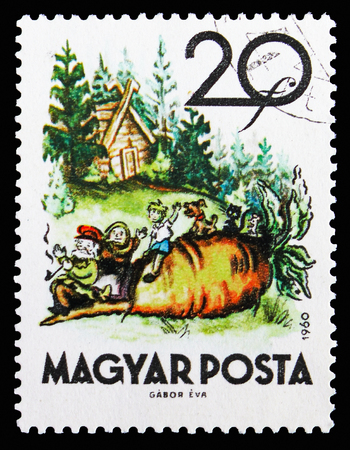 MOSCOW, RUSSIA - SEPTEMBER 15, 2018: A stamp printed in Hungary shows The Turnip, Fairy Tales serie, circa 1960
