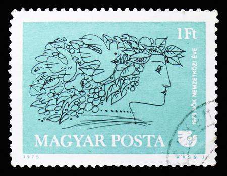 MOSCOW, RUSSIA - SEPTEMBER 15, 2018: A stamp printed in Hungary devoted to International Womens Day, serie, circa 1975