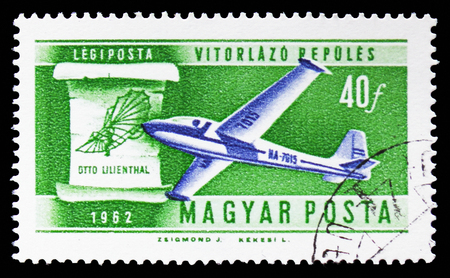 MOSCOW, RUSSIA - SEPTEMBER 15, 2018: A stamp printed in Hungary shows Sailplane and Lilienthals 1898 design, History of Aviation serie, circa 1962