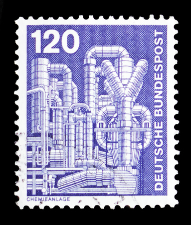 MOSCOW, RUSSIA - SEPTEMBER 15, 2018: A stamp printed in German Federal Republic (Germany) shows Chemical plant for the production of styrene, Industry and Technology Definitives 1975-1982 serie, circa 1975 Editorial