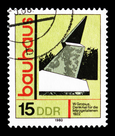 MOSCOW, RUSSIA - SEPTEMBER 15, 2018: A stamp printed in DDR (Germany) shows Memorial to the Fallen in march, Weimar, Artistic Training Bauhaus serie, circa 1980