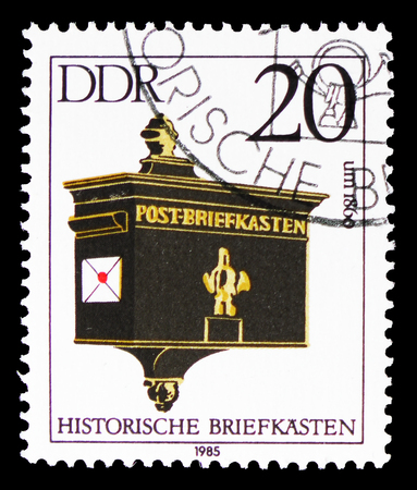 MOSCOW, RUSSIA - SEPTEMBER 15, 2018: A stamp printed in DDR (Germany) shows Mailbox, about 1860, Historical Mailboxes serie, circa 1985