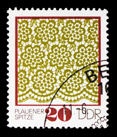 MOSCOW, RUSSIA - SEPTEMBER 15, 2018: A stamp printed in DDR (Germany) shows Pattern, Plauener Point serie, circa 1974