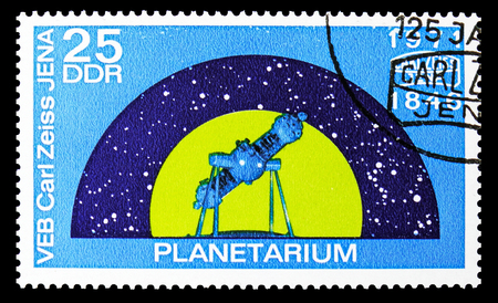 MOSCOW, RUSSIA - SEPTEMBER 15, 2018: A stamp printed in DDR (Germany) shows Space flight planetarium, 125 years Carl Zeiss Jena serie, circa 1971
