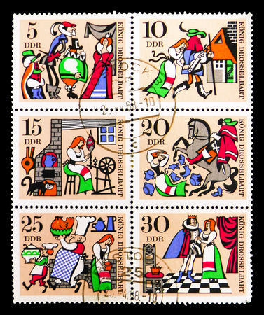 MOSCOW, RUSSIA - SEPTEMBER 15, 2018: A stamp printed in DDR (Germany) shows Six postage stamps from Fairy tales serie, circa 1967