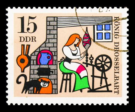 MOSCOW, RUSSIA - SEPTEMBER 15, 2018: A stamp printed in DDR (Germany) shows Cat, Fairy tales serie, circa 1967
