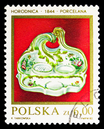 MOSCOW, RUSSIA - SEPTEMBER 15, 2018: A stamp printed in Poland shows Salt and pepper dish, 1844, Porcelain or Stoneware (2) serie, circa 1982
