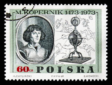 MOSCOW, RUSSIA - AUGUST 18, 2018: A stamp printed in Poland shows Copernicus, by Jeremias Falck, serie, circa 1969
