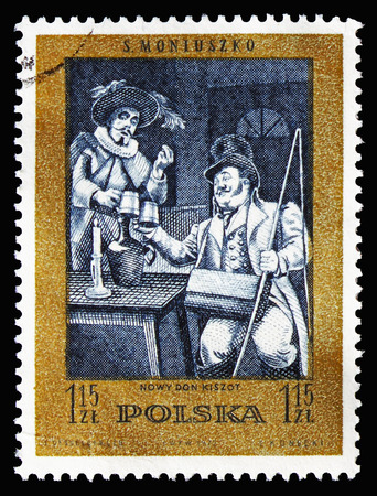MOSCOW, RUSSIA - AUGUST 18, 2018: A stamp printed in Poland shows New Don Quixote (ballet), Stanislaw Moniuszko(1819-1872), composer serie, circa 1972