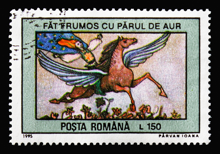 MOSCOW, RUSSIA - AUGUST 18, 2018: A stamp printed in Romania shows The Golden-Haired Prince, Fairy Tales serie, circa 1995