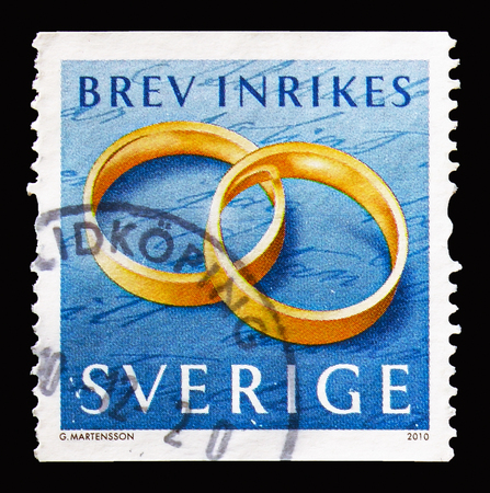 MOSCOW, RUSSIA - AUGUST 18, 2018: A stamp printed in Sweden shows Rings, Fine Arts (Jewellery) serie, circa 2010 Editöryel