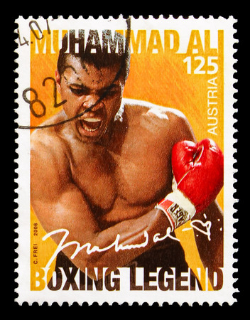 MOSCOW, RUSSIA - AUGUST 18, 2018: A stamp printed in Austria shows Muhammad Ali, Personalities serie, circa 2006